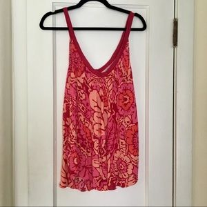 Free People Vintage Red Floral Tanks Size S